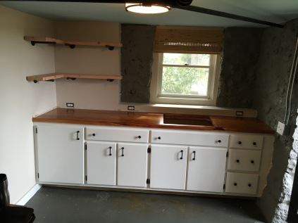 Kitchenette using custom built cabinets