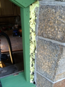 Spray foam added to fill void